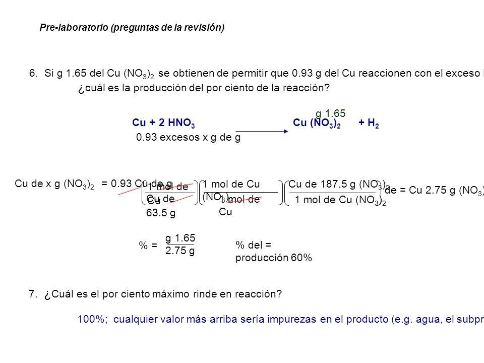 1 mol de Cu Cu de x g (NO 3 ) 2 = 0.93 Cu de g 1 mol de Cu (NO 3 ) 2 Cu de 63.5 g Cu + 2 HNO 3 Cu (NO 3 ) 2 + H 2 0.93 excesos x g de g 1 mol de Cu Cu