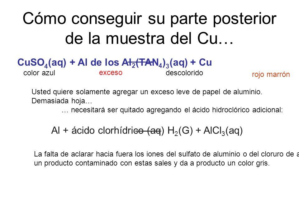 Cómo conseguir su parte posterior de la muestra del Cu… CuSO 4 (aq) + Al de los Al 2 (TAN 4 ) 3 (aq) + Cu Al + ácido clorhídrico (aq) H 2 (G) + AlCl 3