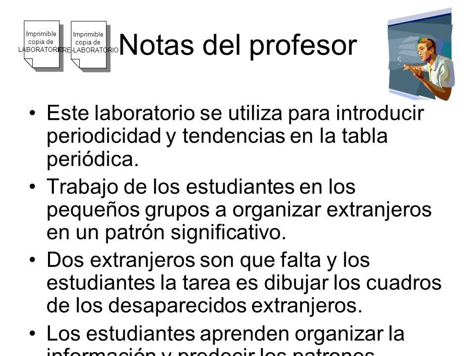 Este laboratorio se utiliza para introducir periodicidad y tendencias en la tabla periódica. Trabajo de los estudiantes en los pequeños grupos a organ