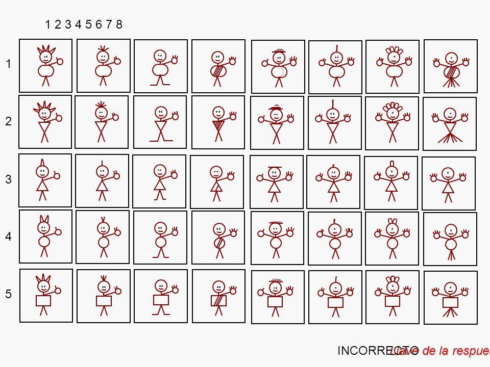 Llave de la respuesta 1 2 3 4 5 6 7 8 2 3 4 5 1 INCORRECTO
