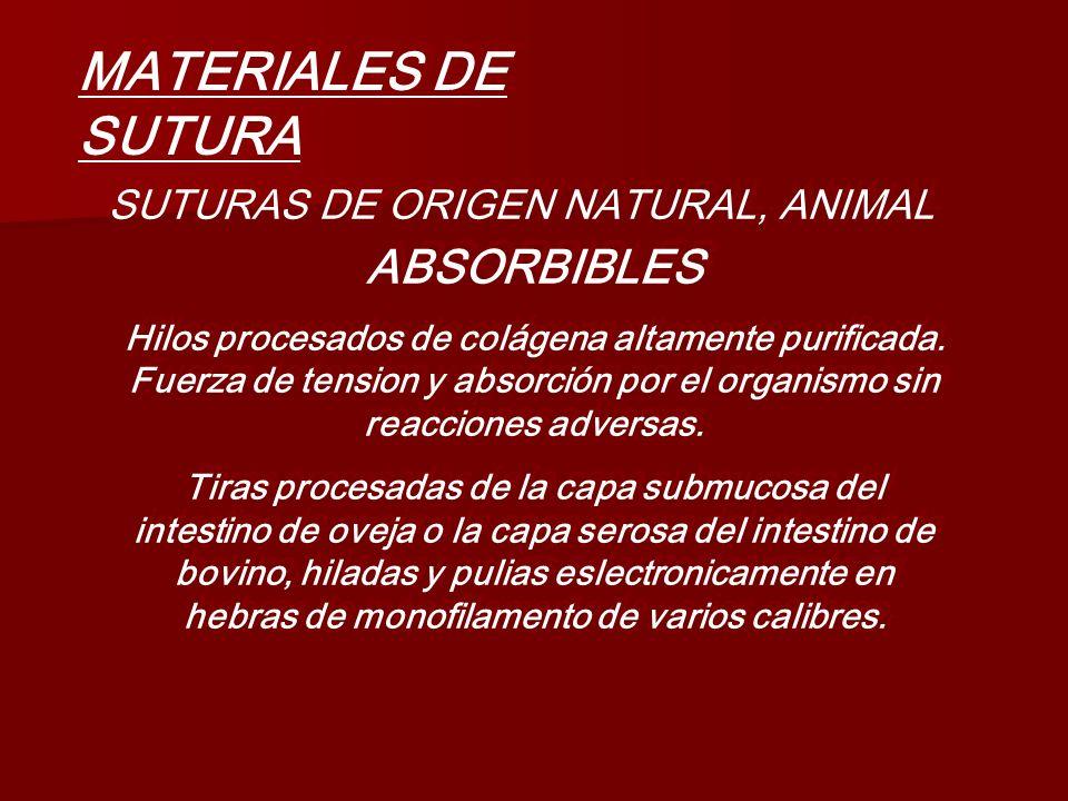 MATERIALES DE SUTURA SUTURAS DE ORIGEN NATURAL, ANIMAL ABSORBIBLES Hilos procesados de colágena altamente purificada. Fuerza de tension y absorción po