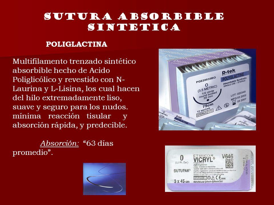 POLIGLACTINA Multifilamento trenzado sintético absorbible hecho de Acido Poliglicólico y revestido con N- Laurina y L-Lisina, los cual hacen del hilo