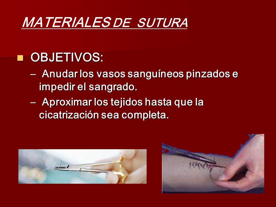 OBJETIVOS: OBJETIVOS: – Anudar los vasos sanguíneos pinzados e impedir el sangrado. – Aproximar los tejidos hasta que la cicatrización sea completa. M