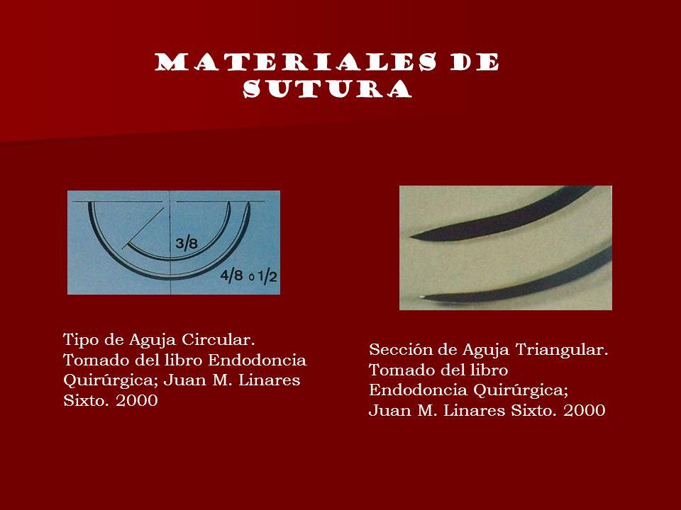 Tipo de Aguja Circular. Tomado del libro Endodoncia Quirúrgica; Juan M. Linares Sixto. 2000 Sección de Aguja Triangular. Tomado del libro Endodoncia Q