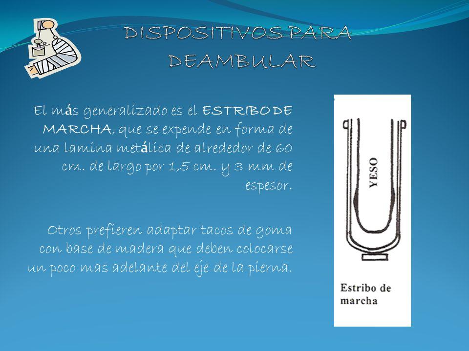 El m á s generalizado es el ESTRIBO DE MARCHA, que se expende en forma de una lamina met á lica de alrededor de 60 cm. de largo por 1,5 cm. y 3 mm de