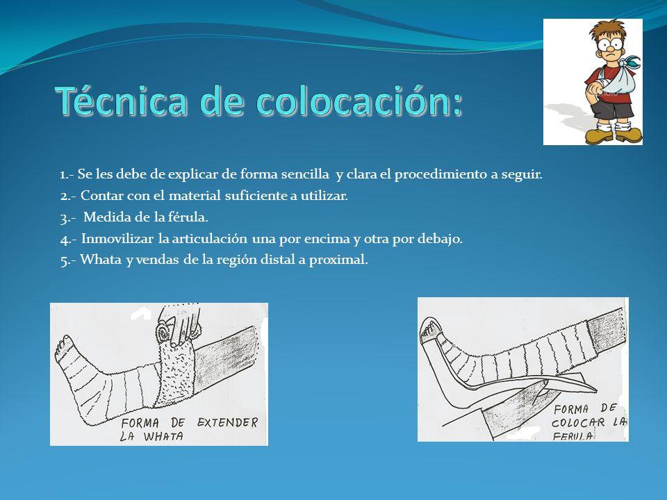 Colocación de la férula braquio-palmar: Tomando en cuenta los puntos anteriores, se comienza a colocar la whata en forma circular.