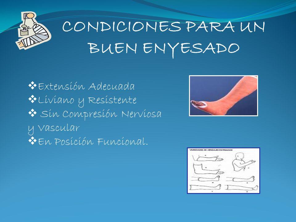 CONDICIONES PARA UN BUEN ENYESADO Extensión Adecuada Liviano y Resistente Sin Compresión Nerviosa y Vascular En Posición Funcional.