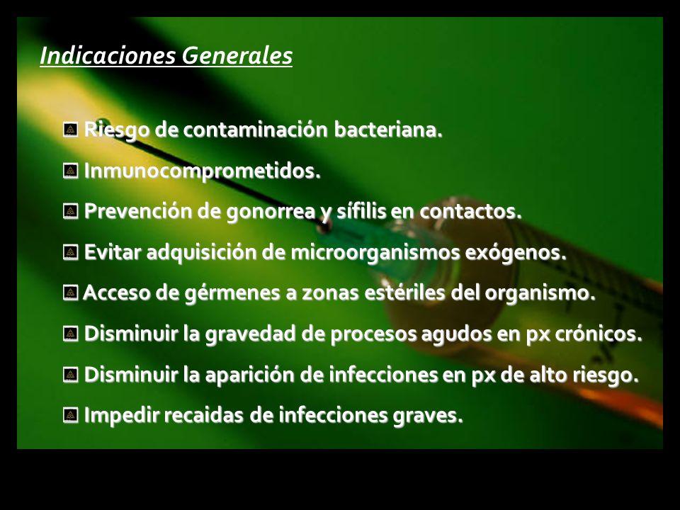 Indicaciones Generales Riesgo de contaminación bacteriana. Riesgo de contaminación bacteriana. Inmunocomprometidos. Inmunocomprometidos. Prevención de
