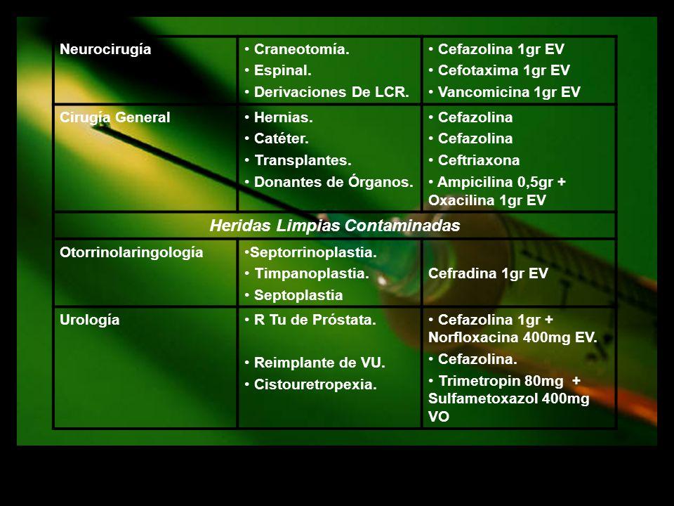 Neurocirugía Craneotomía. Espinal. Derivaciones De LCR. Cefazolina 1gr EV Cefotaxima 1gr EV Vancomicina 1gr EV Cirugía General Hernias. Catéter. Trans