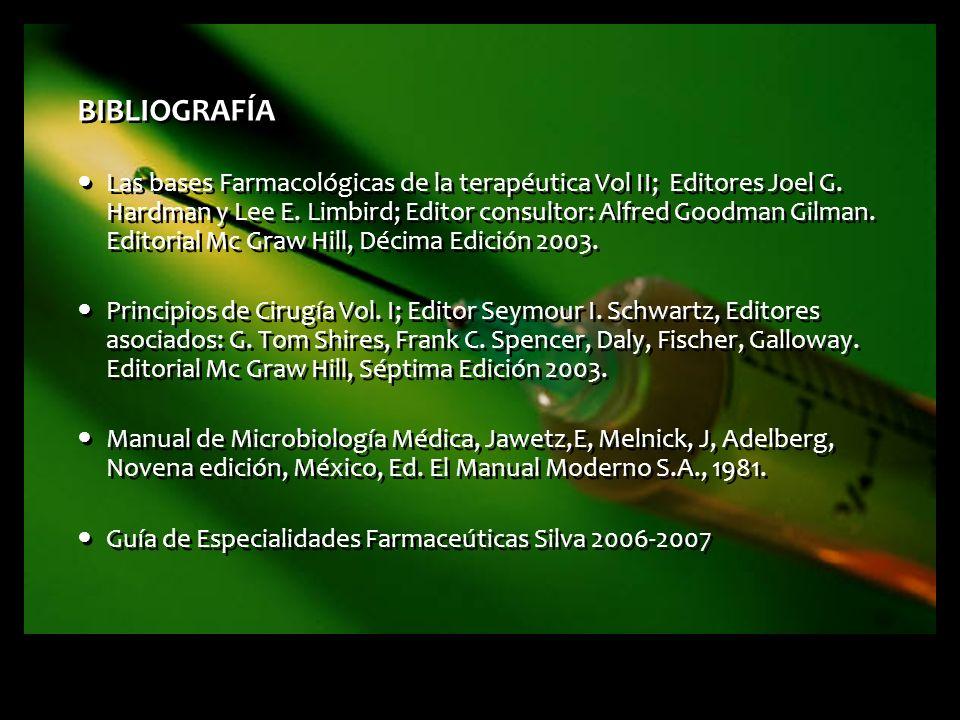BIBLIOGRAFÍA Las bases Farmacológicas de la terapéutica Vol II; Editores Joel G. Hardman y Lee E. Limbird; Editor consultor: Alfred Goodman Gilman. Ed