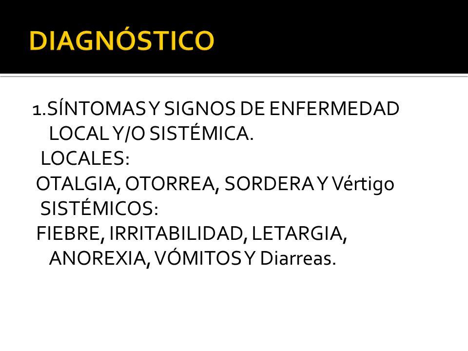 1.SÍNTOMAS Y SIGNOS DE ENFERMEDAD LOCAL Y/O SISTÉMICA. LOCALES: OTALGIA, OTORREA, SORDERA Y Vértigo SISTÉMICOS: FIEBRE, IRRITABILIDAD, LETARGIA, ANORE