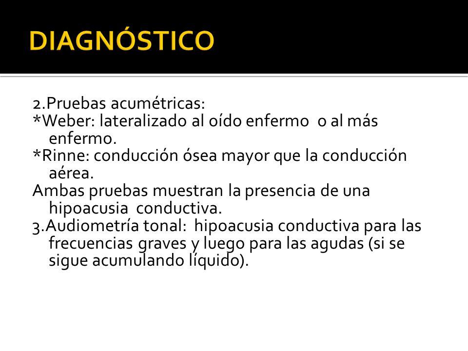 2.Pruebas acumétricas: *Weber: lateralizado al oído enfermo o al más enfermo. *Rinne: conducción ósea mayor que la conducción aérea. Ambas pruebas mue