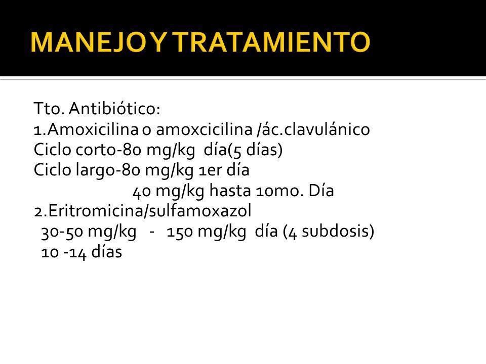 Tto. Antibiótico: 1.Amoxicilina o amoxcicilina /ác.clavulánico Ciclo corto-80 mg/kg día(5 días) Ciclo largo-80 mg/kg 1er día 40 mg/kg hasta 10mo. Día