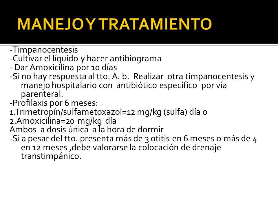 Tto. De las recurrencias: -Timpanocentesis -Cultivar el líquido y hacer antibiograma - Dar Amoxicilina por 10 días -Si no hay respuesta al tto. A. b.