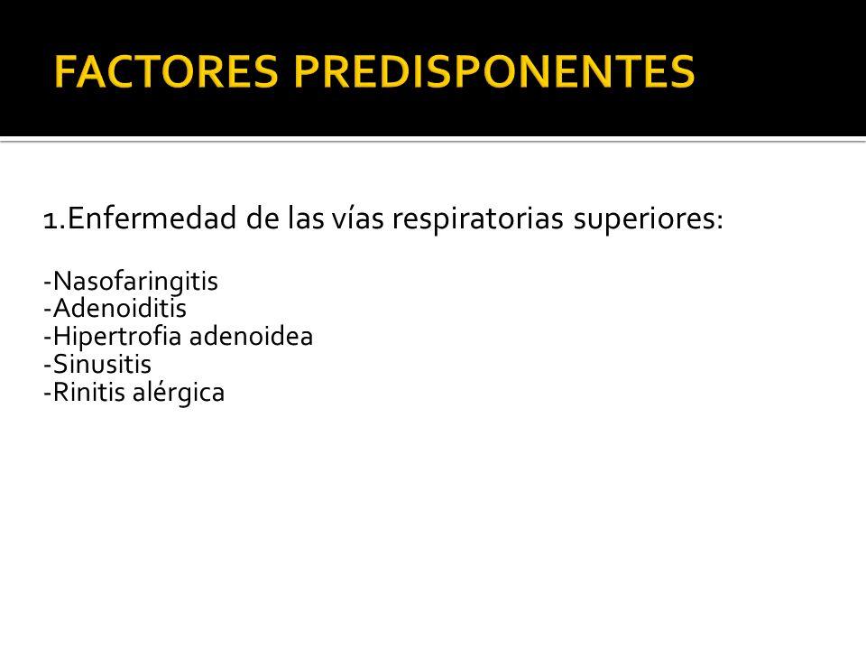 1.Enfermedad de las vías respiratorias superiores: -Nasofaringitis -Adenoiditis -Hipertrofia adenoidea -Sinusitis -Rinitis alérgica