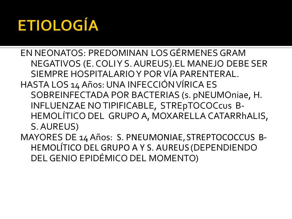 EN NEONATOS: PREDOMINAN LOS GÉRMENES GRAM NEGATIVOS (E. COLI Y S. AUREUS).EL MANEJO DEBE SER SIEMPRE HOSPITALARIO Y POR VÍA PARENTERAL. HASTA LOS 14 A