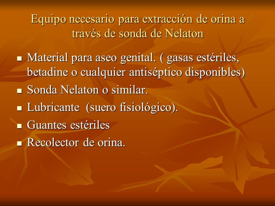 Equipo necesario para extracción de orina a través de sonda de Nelaton Material para aseo genital. ( gasas estériles, betadine o cualquier antiséptico