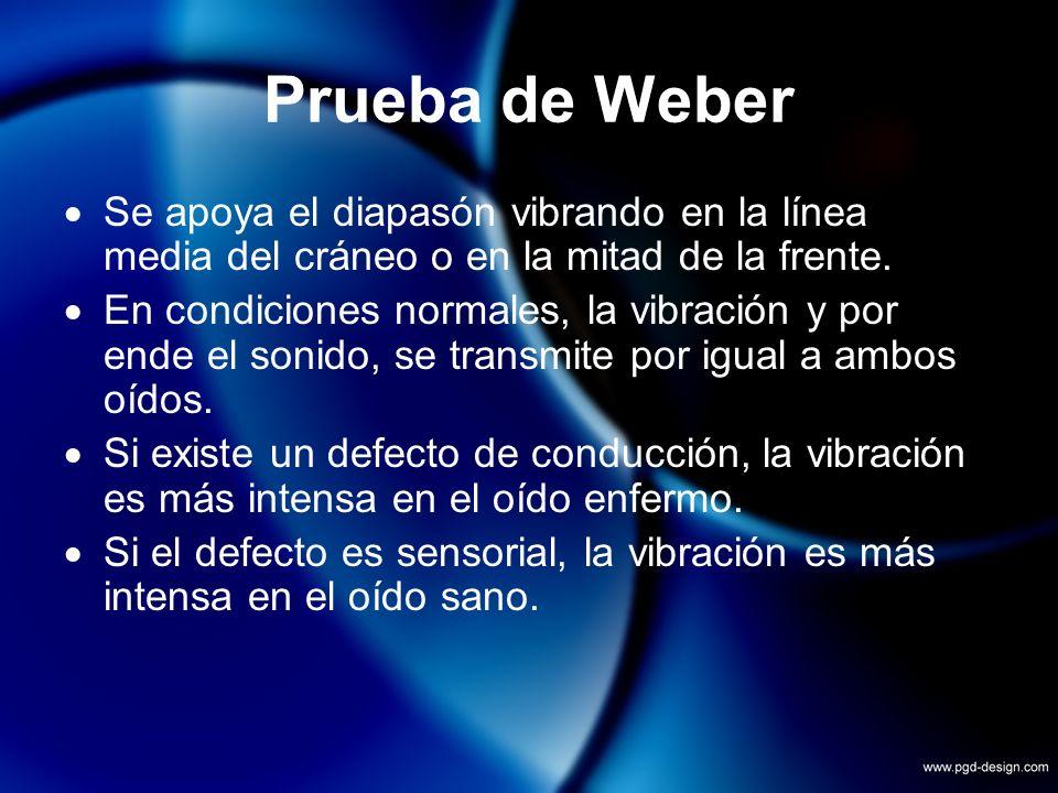 Prueba de Weber Se apoya el diapasón vibrando en la línea media del cráneo o en la mitad de la frente. En condiciones normales, la vibración y por end