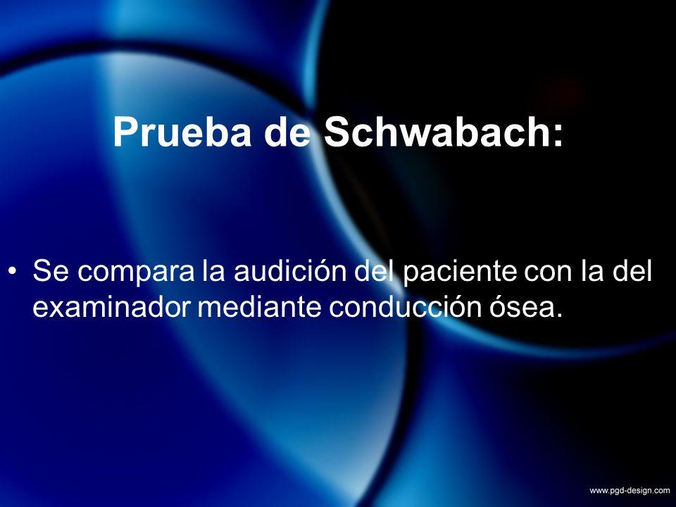 Prueba de Schwabach: Se compara la audición del paciente con la del examinador mediante conducción ósea.