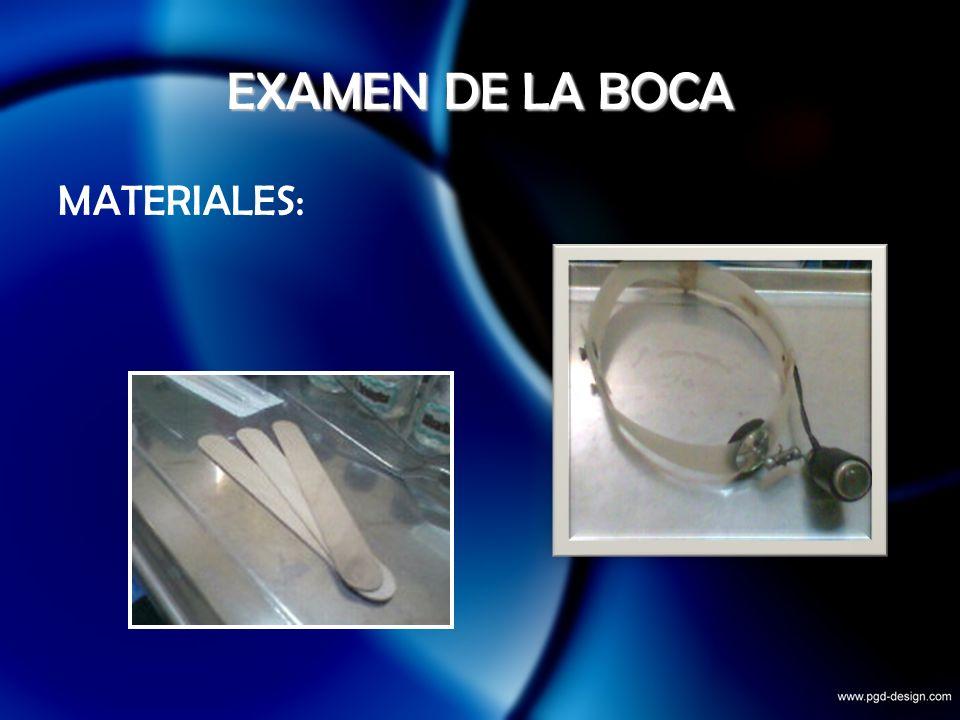EXAMEN DE LA BOCA MATERIALES: