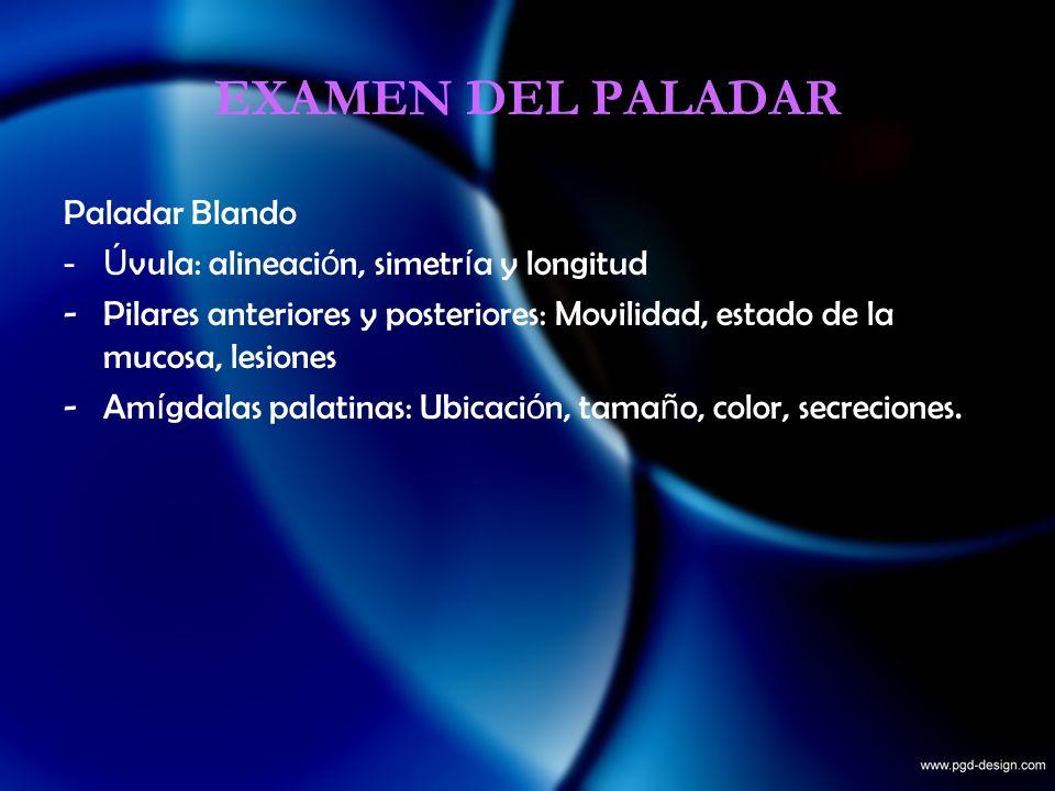 EXAMEN DEL PALADAR Paladar Blando -Ú vula: alineaci ó n, simetr í a y longitud -Pilares anteriores y posteriores: Movilidad, estado de la mucosa, lesi