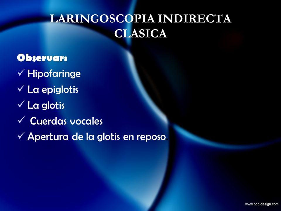 Observar: Hipofaringe La epiglotis La glotis Cuerdas vocales Apertura de la glotis en reposo.