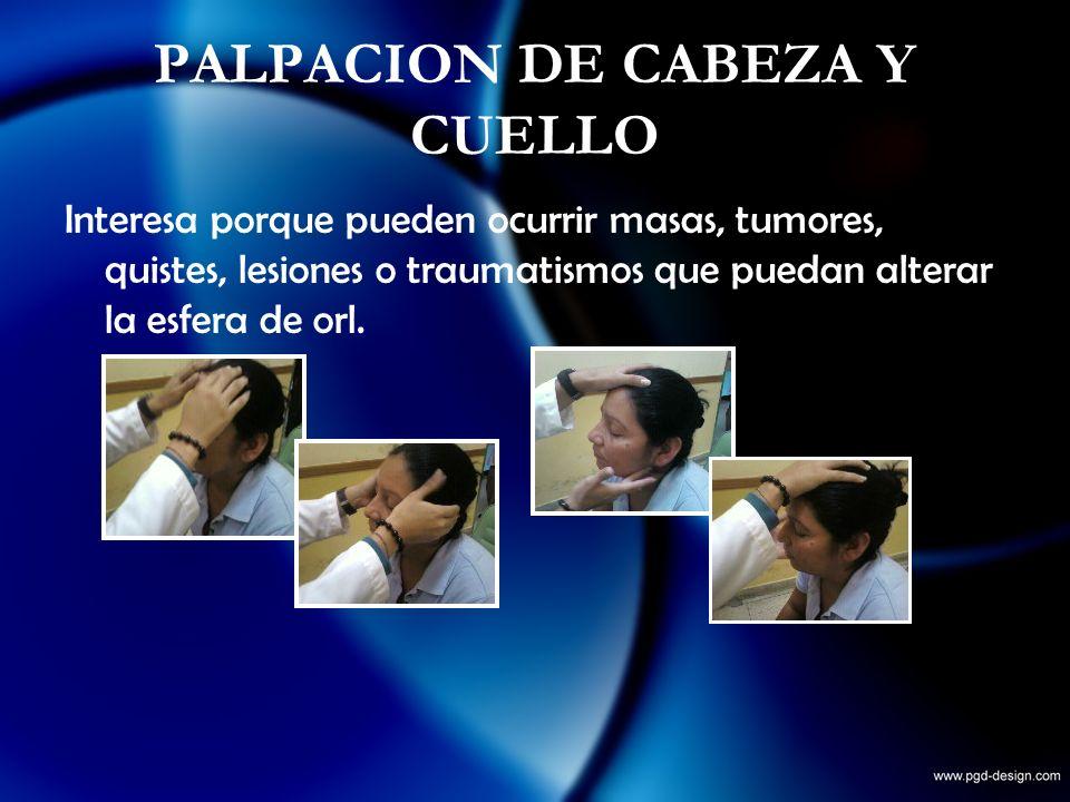 PALPACION DE CABEZA Y CUELLO Interesa porque pueden ocurrir masas, tumores, quistes, lesiones o traumatismos que puedan alterar la esfera de orl.