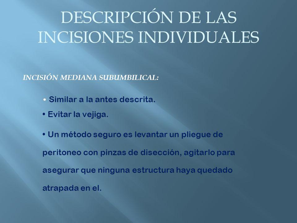 DESCRIPCIÓN DE LAS INCISIONES INDIVIDUALES INCISIÓN PARAMEDIANA SUPRAUMBILICAL: Puede hacerse tanto a la derecha como a la izquierda.