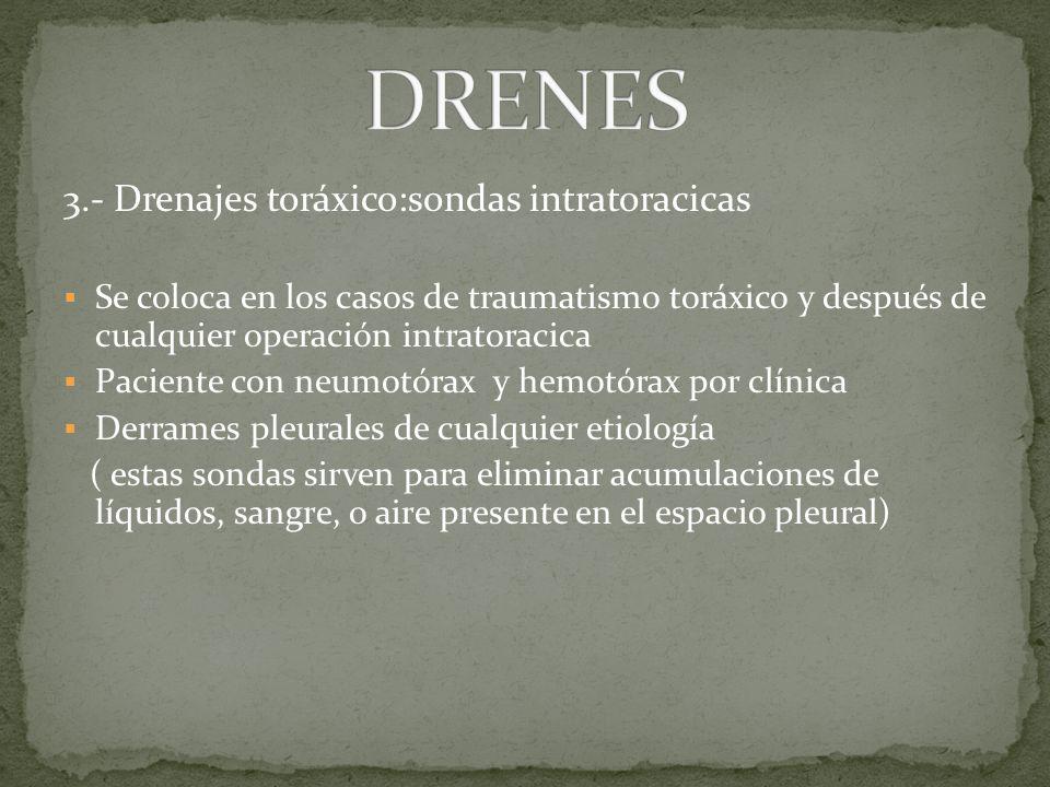3.- Drenajes toráxico:sondas intratoracicas Se coloca en los casos de traumatismo toráxico y después de cualquier operación intratoracica Paciente con