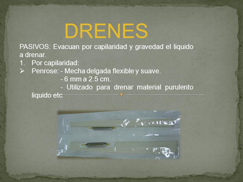 DRENES PASIVOS: Evacuan por capilaridad y gravedad el liquido a drenar. 1.Por capilaridad: Penrose: - Mecha delgada flexible y suave. - 6 mm a 2.5 cm.