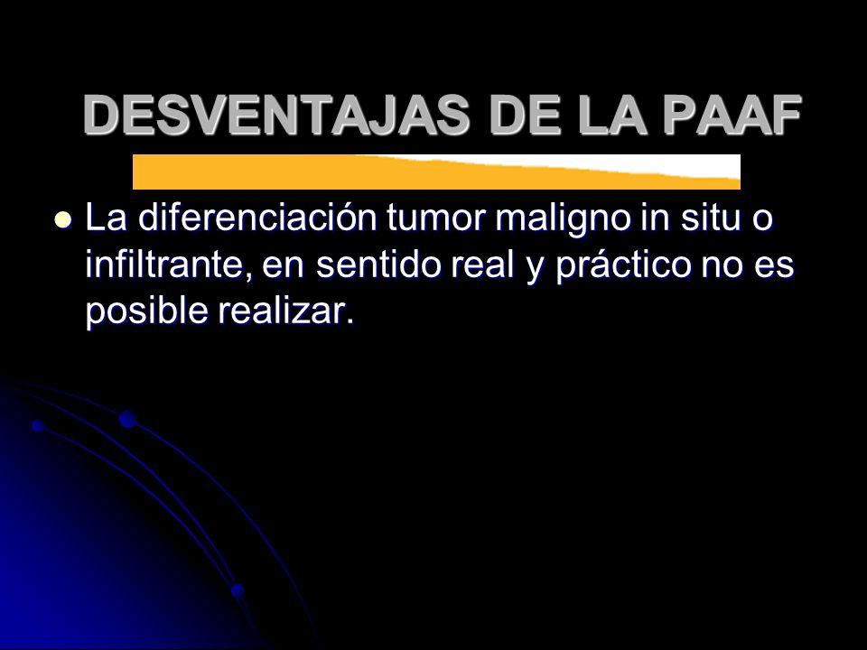 La diferenciación tumor maligno in situ o infiltrante, en sentido real y práctico no es posible realizar. La diferenciación tumor maligno in situ o in