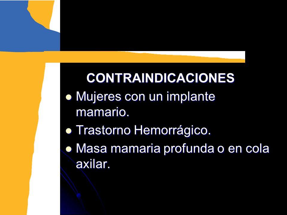 CONTRAINDICACIONES CONTRAINDICACIONES Mujeres con un implante mamario. Mujeres con un implante mamario. Trastorno Hemorrágico. Trastorno Hemorrágico.
