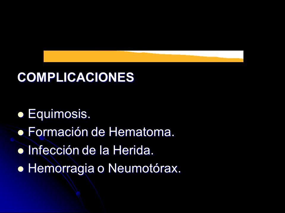 COMPLICACIONES Equimosis. Equimosis. Formación de Hematoma. Formación de Hematoma. Infección de la Herida. Infección de la Herida. Hemorragia o Neumot