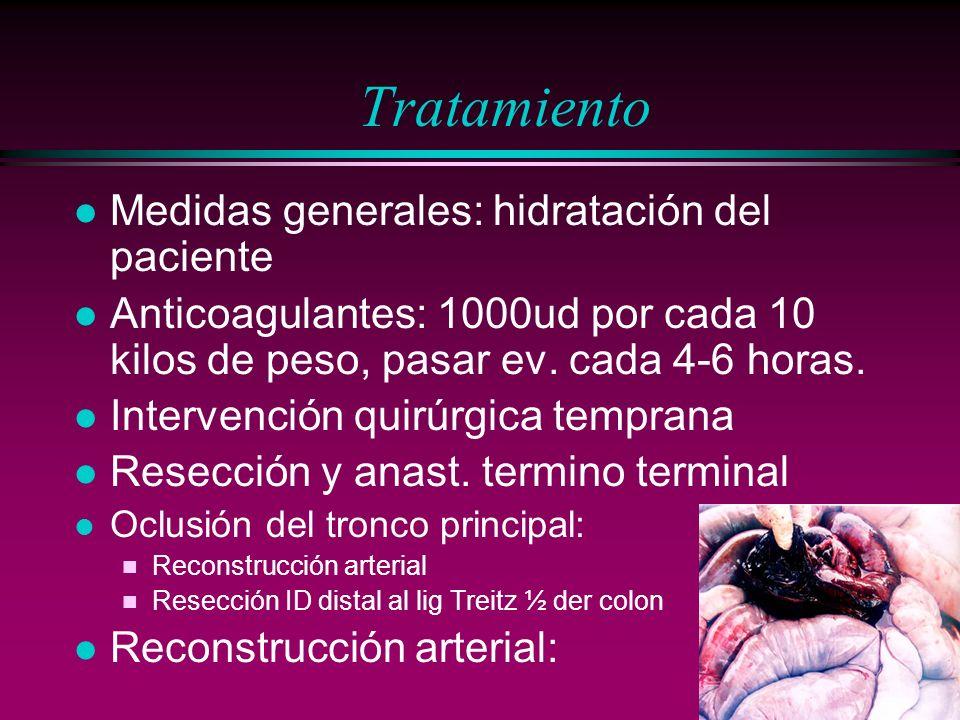 Tratamiento l Medidas generales: hidratación del paciente l Anticoagulantes: 1000ud por cada 10 kilos de peso, pasar ev. cada 4-6 horas. l Intervenció