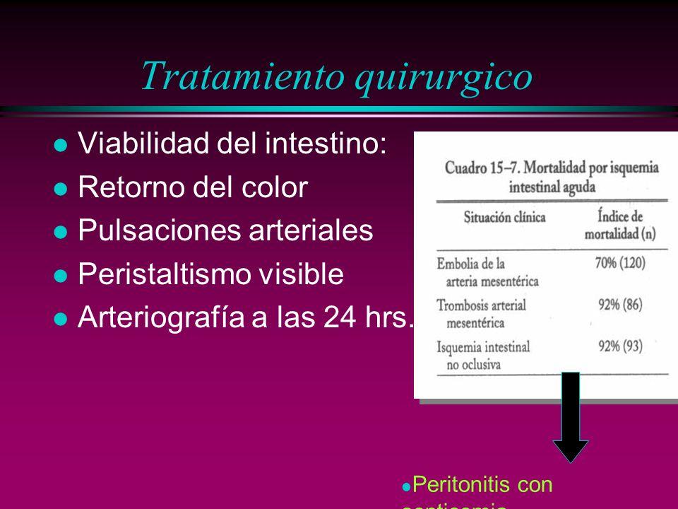 Tratamiento quirurgico l Viabilidad del intestino: l Retorno del color l Pulsaciones arteriales l Peristaltismo visible l Arteriografía a las 24 hrs.