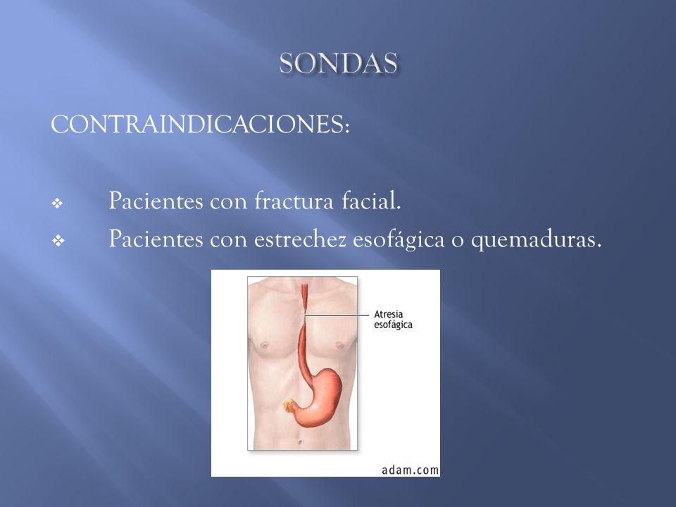 CONTRAINDICACIONES: Pacientes con fractura facial. Pacientes con estrechez esofágica o quemaduras.