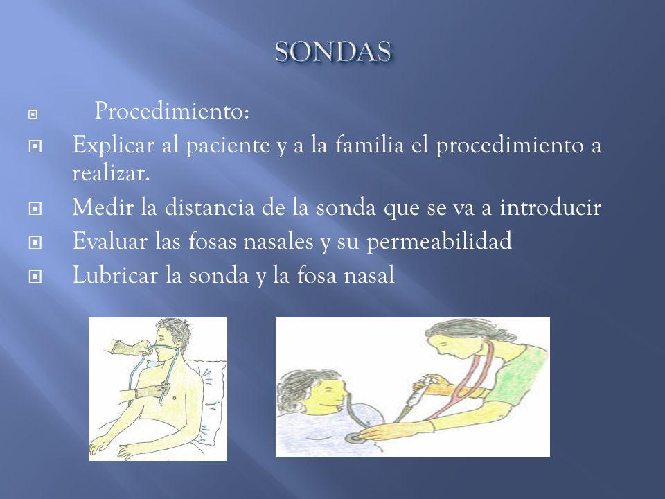 Procedimiento: Explicar al paciente y a la familia el procedimiento a realizar. Medir la distancia de la sonda que se va a introducir Evaluar las fosa