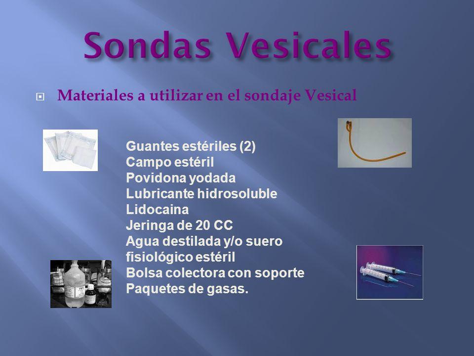 Materiales a utilizar en el sondaje Vesical Guantes estériles (2) Campo estéril Povidona yodada Lubricante hidrosoluble Lidocaina Jeringa de 20 CC Agu