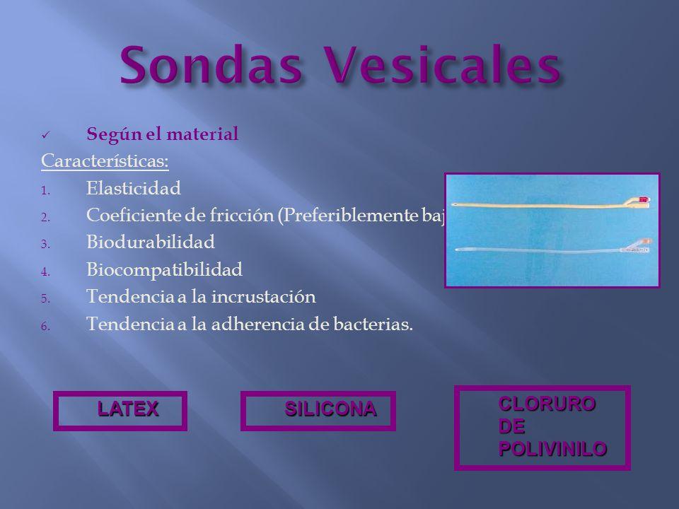 Según el material Características: 1. Elasticidad 2. Coeficiente de fricción (Preferiblemente bajo) 3. Biodurabilidad 4. Biocompatibilidad 5. Tendenci