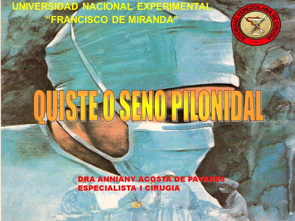 SINONIMOS: QUISTE Y FISTULA PILONIDAL ENFERMEDAD DE JEEP ENFERMEDAD PILONIDAL