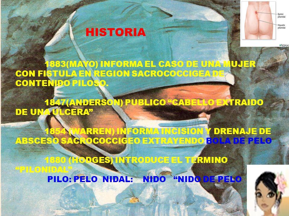 HISTORIA 1883(MAYO) INFORMA EL CASO DE UNA MUJER CON FISTULA EN REGION SACROCOCCIGEA DE CONTENIDO PILOSO. 1847(ANDERSON) PUBLICO CABELLO EXTRAIDO DE U