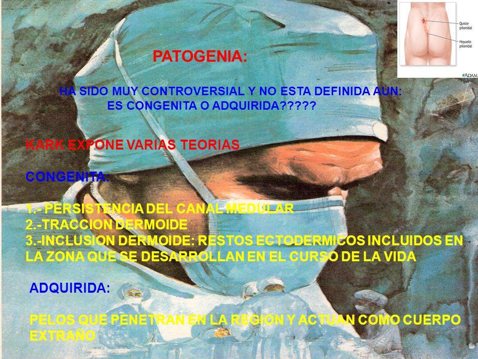 SITIOS DE LOCALIZACION Y SU CONTENIDO COMUNMENTE EN LA REGION SACROCOCCIGEA SE HAN DESCUBIERTO EN: OMBLIGO, AXILA, PUBIS, CLITORI, PLIEGUE INTERDIGITALES EN BARBEROS Y EN LOS PIES EN TRABAJADORES DE FABRICA DE COLCHONES.