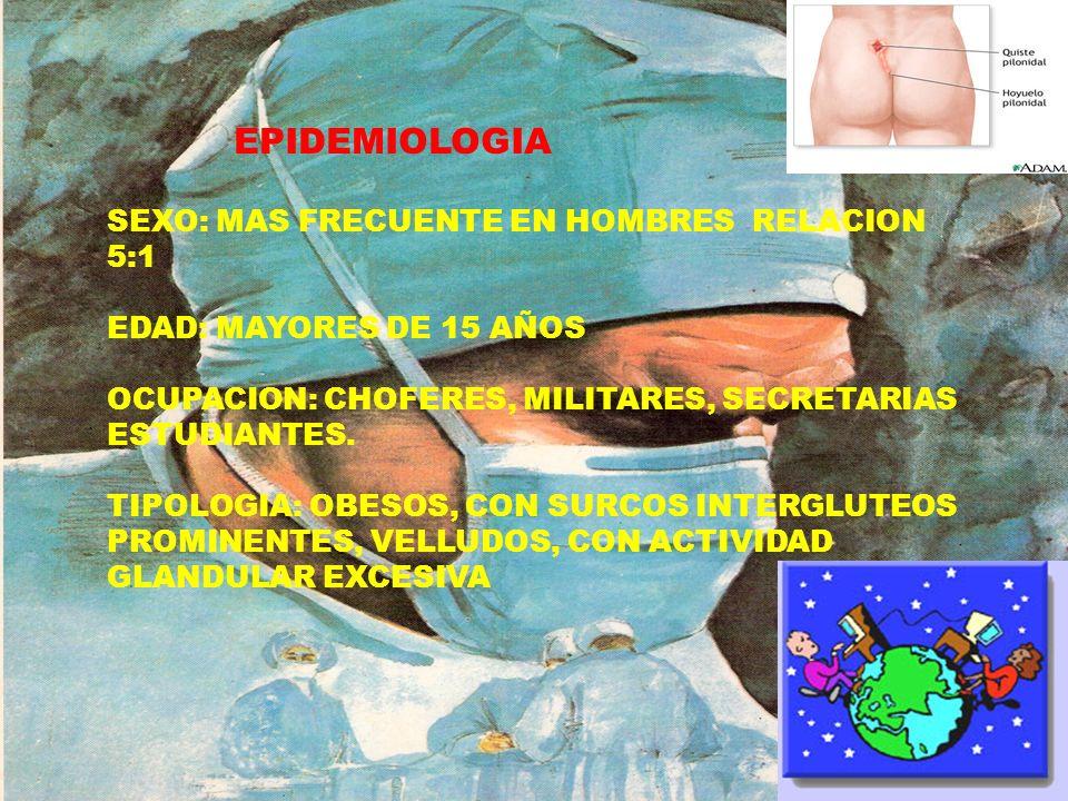 EPIDEMIOLOGIA SEXO: MAS FRECUENTE EN HOMBRES RELACION 5:1 EDAD: MAYORES DE 15 AÑOS OCUPACION: CHOFERES, MILITARES, SECRETARIAS ESTUDIANTES. TIPOLOGIA: