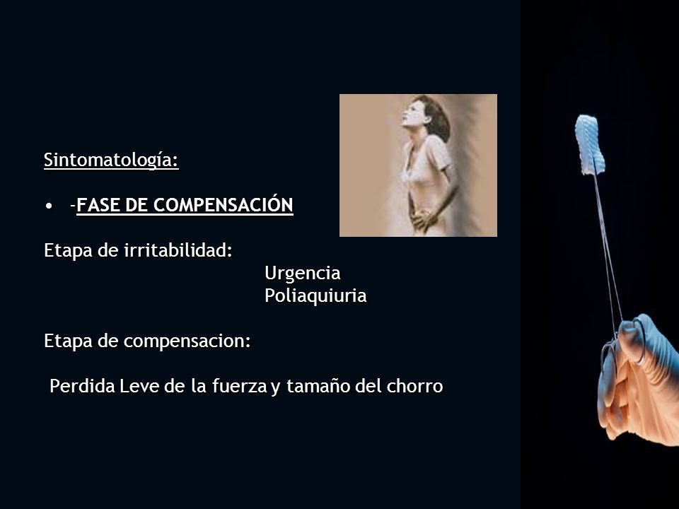 Sintomatología: -FASE DE COMPENSACIÓN Etapa de irritabilidad: Urgencia Poliaquiuria Etapa de compensacion: Perdida Leve de la fuerza y tamaño del chor