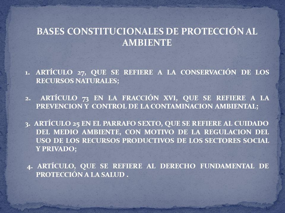 BASES CONSTITUCIONALES DE PROTECCIÓN AL AMBIENTE 1.ARTÍCULO 27, QUE SE REFIERE A LA CONSERVACIÓN DE LOS RECURSOS NATURALES; 2.