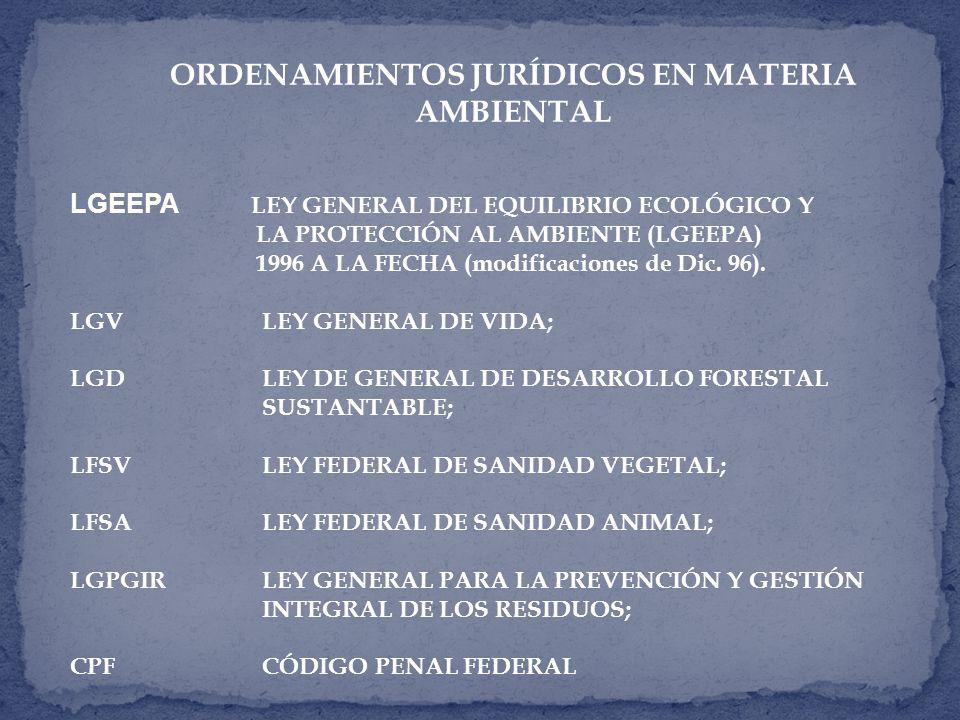 ORDENAMIENTOS JURÍDICOS EN MATERIA AMBIENTAL LGEEPA LEY GENERAL DEL EQUILIBRIO ECOLÓGICO Y LA PROTECCIÓN AL AMBIENTE (LGEEPA) 1996 A LA FECHA (modificaciones de Dic.
