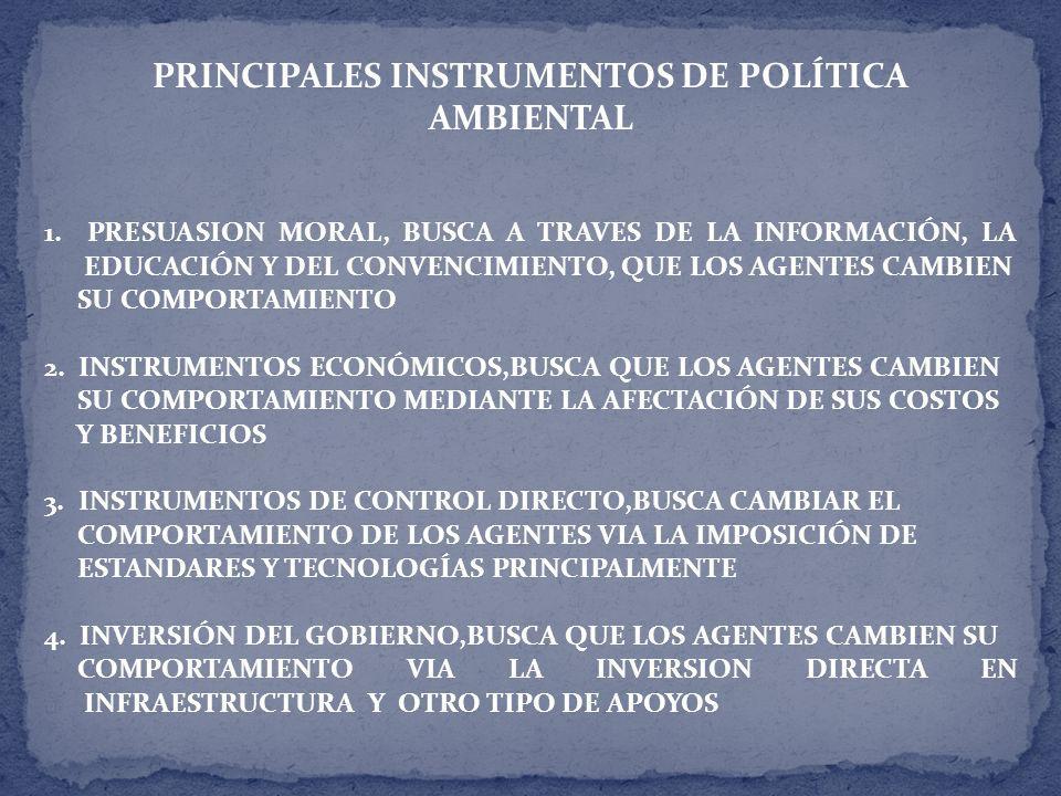 PRINCIPALES INSTRUMENTOS DE POLÍTICA AMBIENTAL 1.