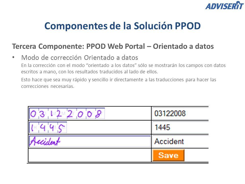 Tercera Componente: PPOD Web Portal – Orientado a datos Modo de corrección Orientado a datos En la corrección con el modo orientado a los datos sólo se mostrarán los campos con datos escritos a mano, con los resultados traducidos al lado de ellos.