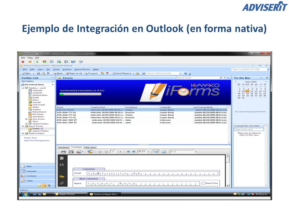 Ejemplo de Integración en Outlook (en forma nativa)