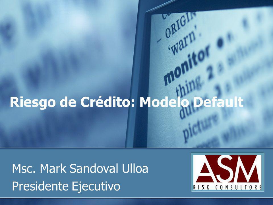 Riesgo de Crédito: Modelo Default Msc. Mark Sandoval Ulloa Presidente Ejecutivo